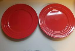 "Set of 2 Rachael Ray RED Double Ridge Dinner Plates 11"" Bran"