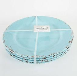 "Set of 4 - Tommy Bahama 11"" Melamine Dinner Plates Blue Rust"