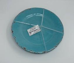 Tommy Bahama Set of 4 Aqua Blue Rustic Crackle Melamine 11'