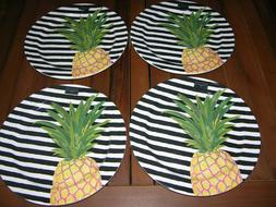 Set of 4 Cynthia Rowley PINEAPPLE on Black & White MELAMINE