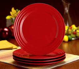 "RACHAEL RAY - SET OF 4 RED DOUBLE RIDGE 11"" DINNER PLATES -"