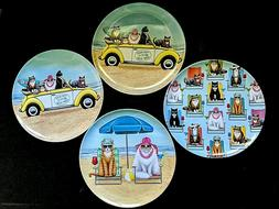 "Set of 4 Summer Beach Cats Melamine Dinner Plates 10.5"" Pati"