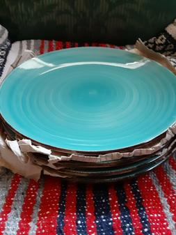 Set of 4 Royal Norfolk Turquoise swirl Stoneware Lg. Dinner