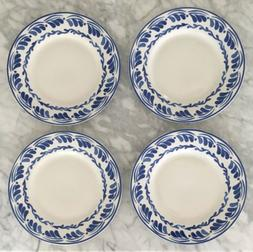 Set Of 4 Williams Sonoma AERIN Sea Blue Floral Dinner Plates