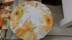 Set of 6 Shatterproof Thanksgiving Fall Meal Dinner Plates ~
