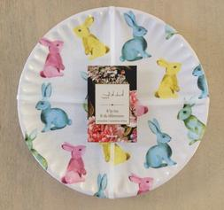 SET OF 8 Nicole Miller Home EASTER BUNNY RABBIT MELAMINE DIN