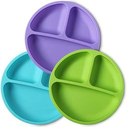 WeeSprout Silicone Divided Toddler Plates - 3 Pack - Easy to