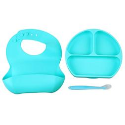 SODIAL Silicone Baby Feeding Set - Divided Suction Plate, Si