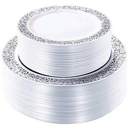 WDF 102PCS Silver Plastic Plates-Disposable Plastic Plates w