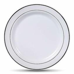 Select Settings   Silver Rim Plastic Dinner Plates
