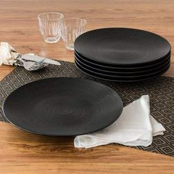 Simple and Unique Matte Swirl Dinner Plates, Black, Set of 6
