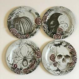 Skull Spider Black Pumpkin Raven Dinner Plates Set of 4 Mela