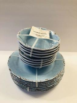 Tommy Bahama Sky Blue Dinner Plates & Bowls Melamine SET of