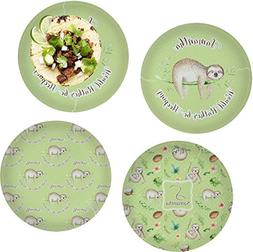 Sloth Set of 4 Glass Lunch/Dinner Plate 10""