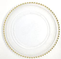 Spectacular Glass Dinnerware Formal 13-Inch Gold Beaded Rim