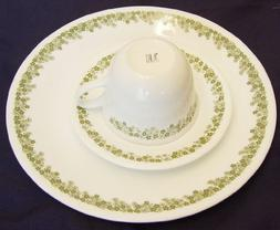 Spring Blossom Green  3 Piece Set; 1 Dinner Plate, 1 Cup & S