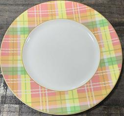 222 Fifth Spring Easter Plaid Pink Yellow Green Porcelain Di