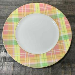 222 Fifth Spring  Plaid Pink Yellow Green Porcelain Dinner P