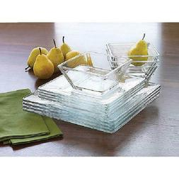 Square Clear Dinnerware Set Dinner Kitchen Glass Bowls Dishe