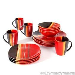 Square Dinnerware Set 16 Piece Dinner Plates Dishes Bowls Ki