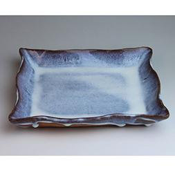 Hagiyaki square plate made in Japan. Japanese pottery with w
