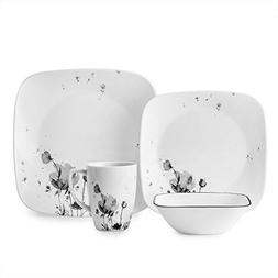 Corelle Square Wildflowers in Shadowy 16-Piece Dinnerware Se