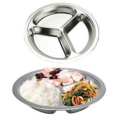 AIYoo Round Divided Plates 2 Pack 304 Stainless Steel Mess T