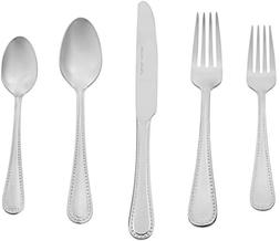 AmazonBasics 20-Piece Stainless Steel Flatware Set with Pear