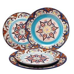 Stoneware Plate Accent Dinnerware Plates 4 Piece, Embossed H