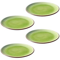 Stoneware Thick Lime Green Crackle 10-Inch Dinner Plates/Ser