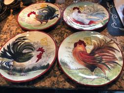 susan winget dinner plates ironstone le rooster