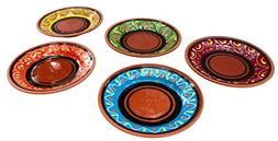 SMALL, Terracotta Tapa Plates Set of 5 - Hand Painted From S