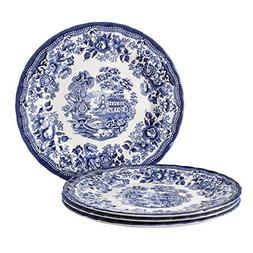"""Tonquin Blue by Queen's, 10"""" Dinner Plates, Set of 4"""