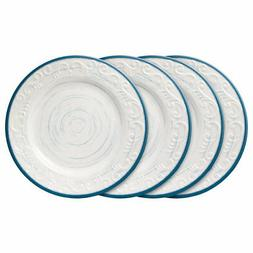 Pfaltzgraff Trellis Blue Set of 4 Melamine Dinner Plates