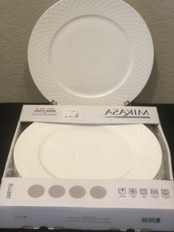 "Mikasa Trellis White 11"" Bone China Dinner Plates Set of Fiv"