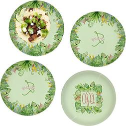 Tropical Leaves Border Set of 4 Glass Lunch/Dinner Plate 10""