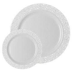 TTG 200-Piece Plastic Dinnerware Set | Lace Collection |  Di