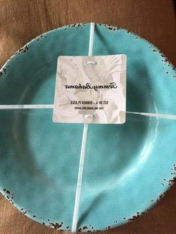 Tommy Bahama Turquoise Blue Dinner Plates Melamine Set of 4