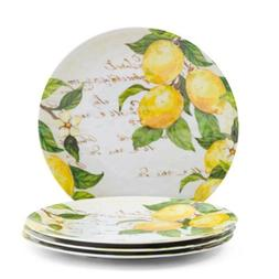tuscan lemon melamine dinner plates indoor outdoor