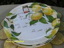 tuscan lemon yellow floral dinner plates melamine