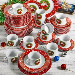 VEWEET 60-Piece Porcelain Christmas Pattern <font><b>Dinner<