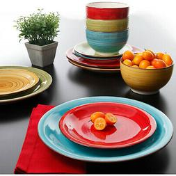Vibrant Multi-Colored Festival 12-Piece Dinner Bowls Plates