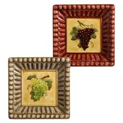 Grasslands Road in Vino Veritas Ceramic Square Appetizer Pla