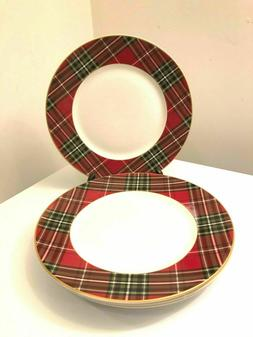 222 FIFTH WEXFORD RED PLAID TARTAN DINNER PLATES _SET OF 4