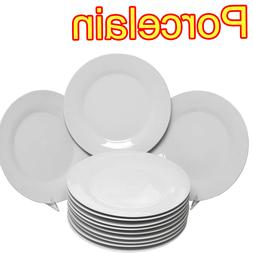 White Dinner Plates Set of 12 Classic Porcelain Dinnerware 1