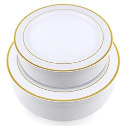 Stately Elegance Designs 200 Piece White and Gold Rimmed Pla