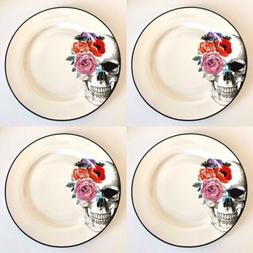 wicked skull with roses dinner plates 10