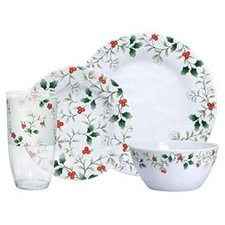 Pfaltzgraff Winterberry Melamine 32-Piece Dinnerware Set, Se