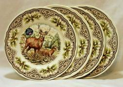 Royal Stafford Woodland Deer Porcelain Dinner Plates   Set o