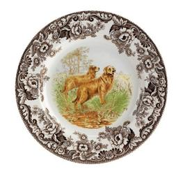 Spode Woodland Hunting Dogs Golden Retriever Dinner Plate by